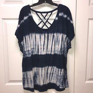 Strappy Back Navy Blue & White T-shirt size 22/24